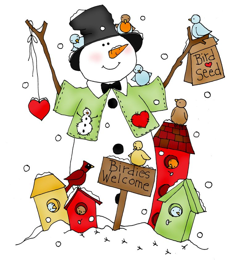 Free Dearie Dolls Digi Stamps: Birdies Welcome Snowman