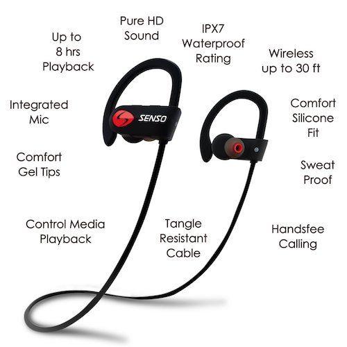 Best Earbuds under 50: 2. SENSO Bluetooth Headphones, Best Wireless Sports Earphones w/ Mic IPX7 Waterproof HD Stereo Sweatproof Earbuds for Gym Running Workout 8 Hour Battery Noise Cancelling Headsets