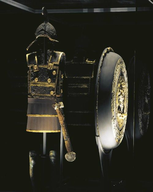 The Royal Tombs of Aigai: Finds from the tomb of Philip II of Macedon and the Scythian princess Meda, in Aigai, Macedonia, Greece. Ceremonial armour, shield and sword of Phillip II.