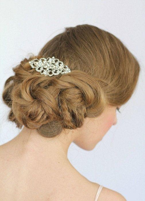 Pearl Rhinestone Bridal Hair Comb, Wedding Bridal Comb, Vintage Wedding Hair , Crystal Hair Comb  , vintage wedding hair - Style 255. $65.00, via Etsy.