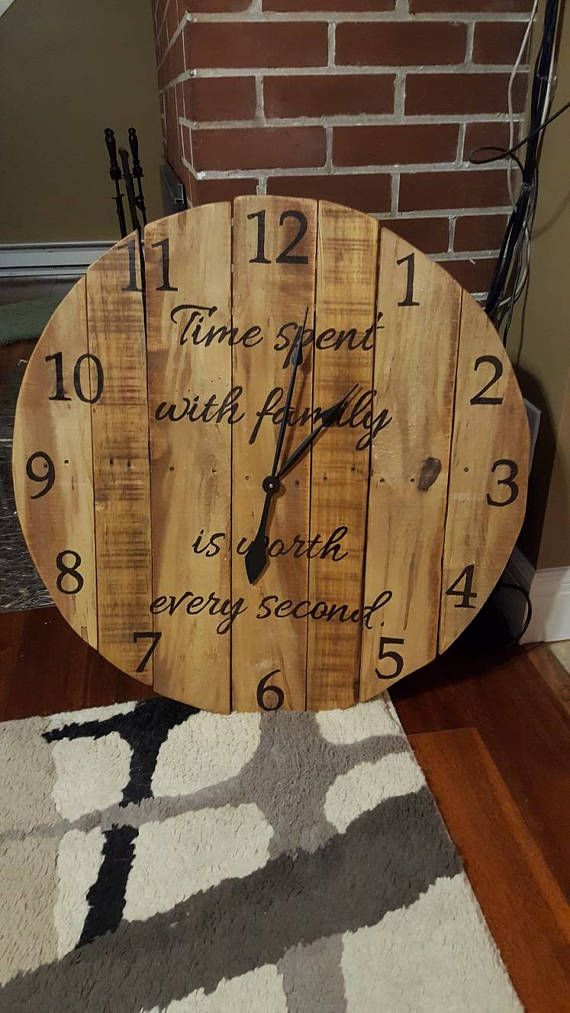 579d4dc80bf4 This beautiful made-to-order rustic clock is hand crafted from reclaimed  pallet wood. Each numeral is ~2.75 inches tall and is hand numbered (not  printed) ...