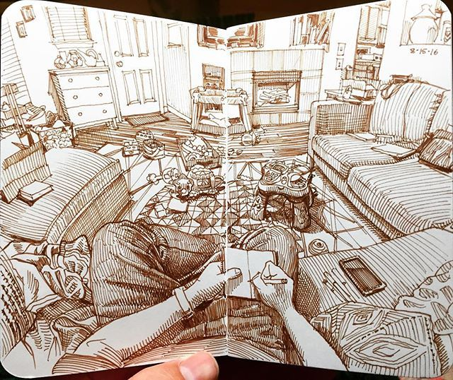 The living room in sepia. Derwent Graphik pen in 3.5x5.5 softcover @stillmanandbirn epsilon sketchbook. #drawing #sketchbook #art #artistsofinstagram #denverartists #paulheaston