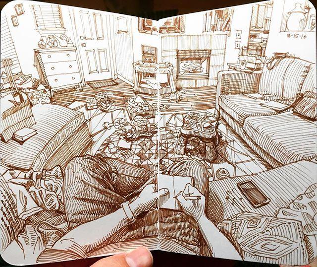 The living room in sepia. Derwent Graphik pen in 3.5x5.5 softcover @stillmanandbirn epsilon sketchbook. #drawing #sketchbook #art #artistsofinstagram #denverartists #paulheaston