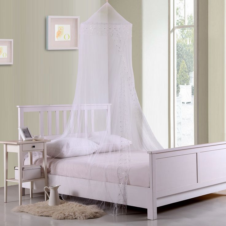 Transform a bed into a magical wonderland or royal quarters with this collapsible kids' bed canopy. Installs easily with one included hook placed into the ceiling, is made of 100-percent polyester sheer netting.