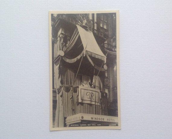 Carte postale la visite royale à Montréal au Canada 18 mai 1939. Windsor Hotel George VI et la Reine Elizabeth (la Reine mère) non validé