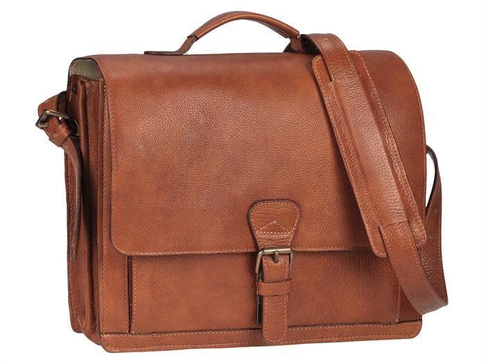 Aktentasche Leder mit 2 Fächern Damen Herren Businesstasche Umhängetasche Tasche Schultasche SOFT cognac braun