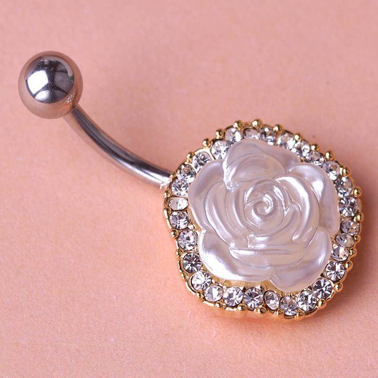 Esmalte Белая Роза Цветы Пирсинг Пупка Пупка Кольца Секс Тело Percing Аксессуары Для Личности Женщин Готическом