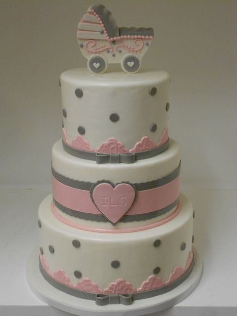 Precious 3-Tier Pink and Grey Baby Shower Cake