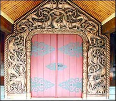 The three brothers John, Sigmund and Iver Bjørndalsæter from Oppdal, which is known to be the foremost woodcarvers in Norway, has done a great job of decorating this mountain cabin. The image shows a door in Dragon style. http://www.bjorndalseter.no/