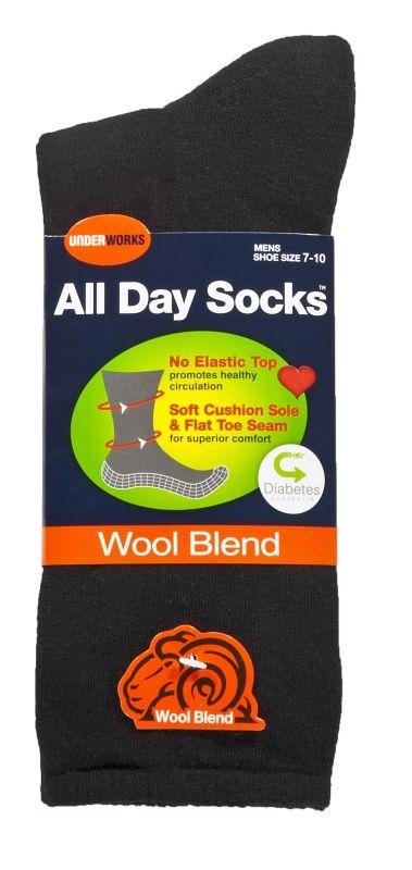 Socks - Mens all day black diabetic, wool blend (6 pr), Assistive Style $70