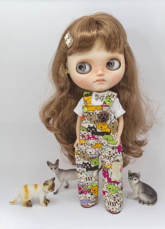 Blythe kombinézy, Blythe kočičí kombinézy a tričko soubor, Blythe kombinézy nastavit, čisté neemo kombinézy, Blythe montérky, čisté neemo montérky