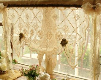 Shabby French Rustic Chic Balloon Burlap Lace Valance - Antique style Lace Flowers Bows Cream