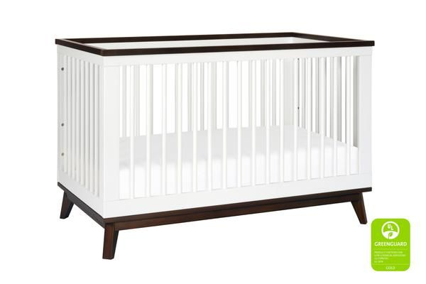 Scoot 3-in-1 Convertible Crib With Toddler Bed Conversion Kit in White/Walnut