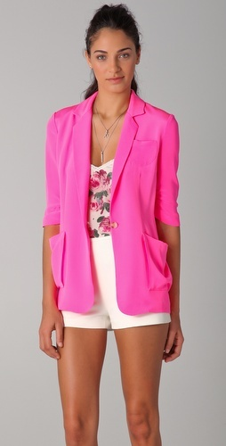 Elizabeth and James  Drapey James Pink blazer.....I can do bright pink like this!