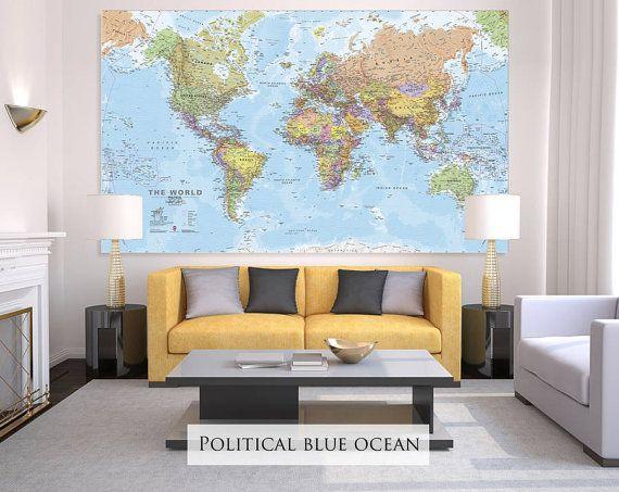 Giant Sized Canvas World Map - Political Blue Ocean