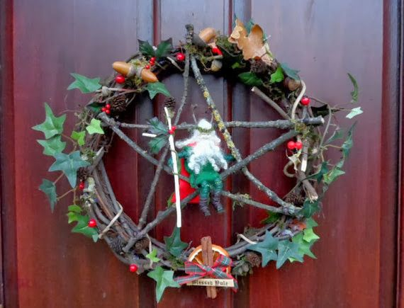 Handmade Holly King Yule Pentacle Wreath By Positively