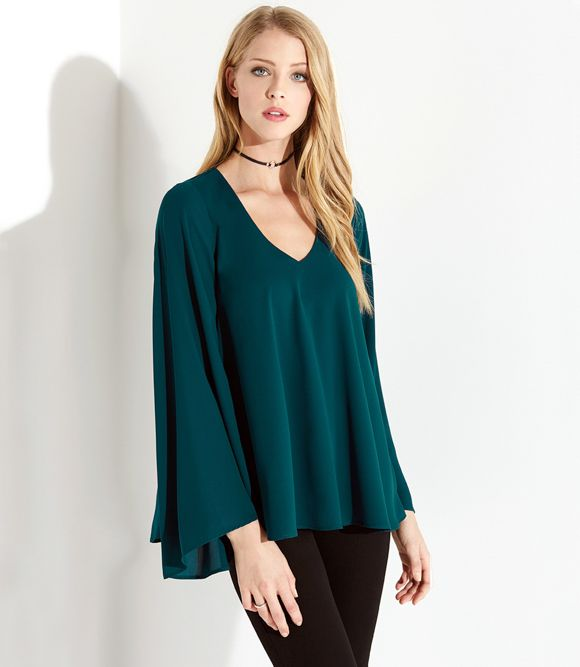 Karen Kane V Neck Flare Sleeve Top -  - S, M, L, XL, XS
