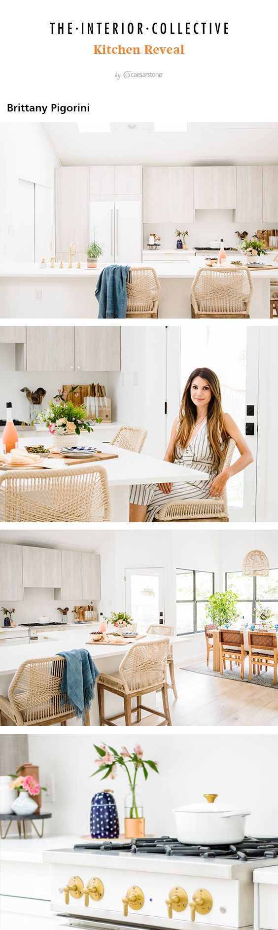 Need help designing a bright white kitchen with lots of natural light? Tour Brittany Pigorini's kitchen remodel. A wall of windows brightens the kitchen with a Scandinavian modern look, light grey cabinets and Caesarstone Pure WHite countertops.