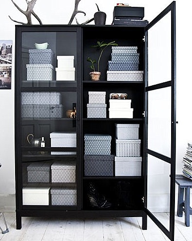 I Like The The Idea Of A Glass Door Cabinet That Has Monochromatic Boxes  Inside For The Storage. In This Case It Is A Lovely Medley Of Black And  White And ...