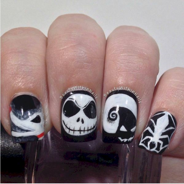 16 Nightmare Before Christmas Nail Designs Nails Pinterest
