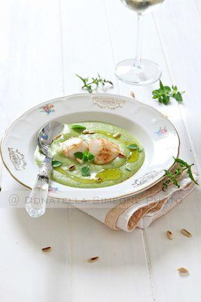 Capesante su crema di zucchine e patate