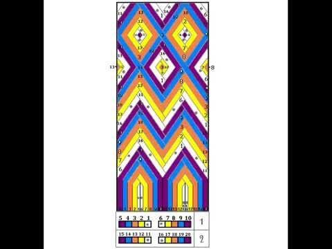Como tejer la gasa de una mochila Wayuu. Gasa o fajon Wayuu plantilla diseño.