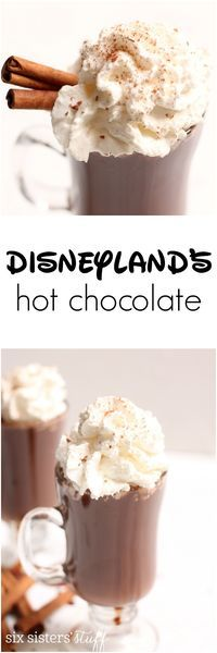 Disneyland's Hot Chocolate Recipe   Even though it doesn't get too cold at the Disneyland Parks in the winter, it's cold enough that you'll want a jacket…and some of their AMAZING Hot Chocolate from the Napa Rose Restaurant in the Grand Californian hotel.