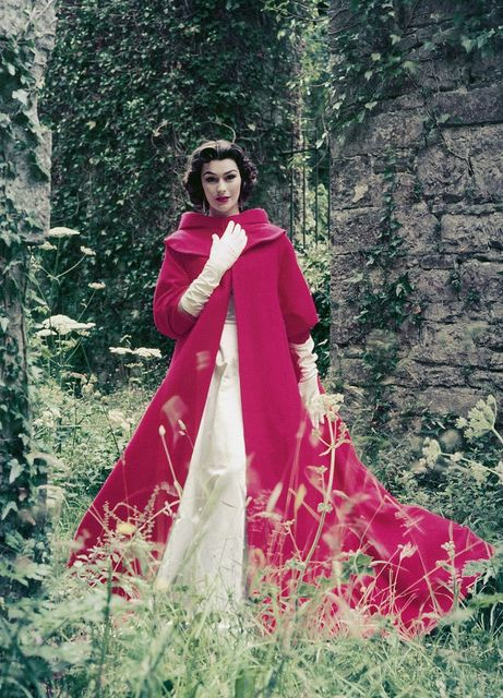 Beautiful gown and evening coat by Sybil Connolly, photo by Milton Greene, 1953.