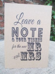 Wish Tree Wishes for the New Mr & Mrs A5 Size Poster Shabby Chic Kraft Card
