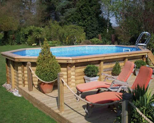 ways to camouflage an above ground pool | pools ltd offer a free on site survey and delivery for all wooden pool ...