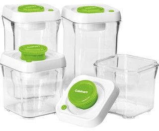 Cuisinart Fresh Edge 8-Piece Vacuum Sealed Food Storage Containers, Apple Green - contemporary - food containers and storage - by HPP Enterp...