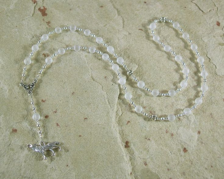 Skadhi Prayer Bead Necklace in Frosted Quartz: Norse Goddess of Winter and the Wilderness