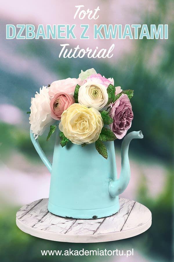 Tort Dzbanek Z Kwiatami Jadalnymi Glassware Mugs Tableware