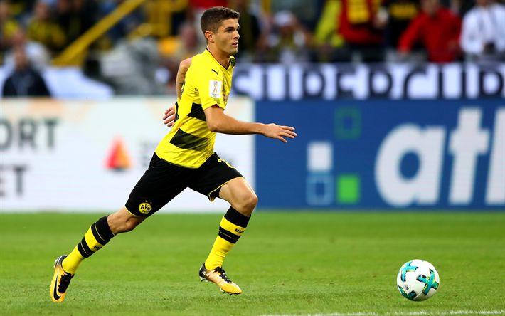 Download wallpapers Christian Pulisic, Borussia Dortmund, soccer, footballers, BVB, match, Bundesliga
