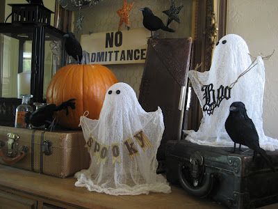one lucky day cheesecloth ghosts tutorial - Cheesecloth Halloween Decorations