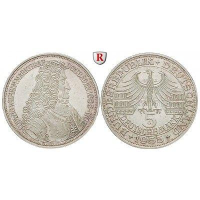 Bundesrepublik Deutschland, 5 DM 1955, Markgraf von Baden, G, st, J. 390: 5 DM 1955 G. Markgraf von Baden. J. 390; stempelfrisch… #coins