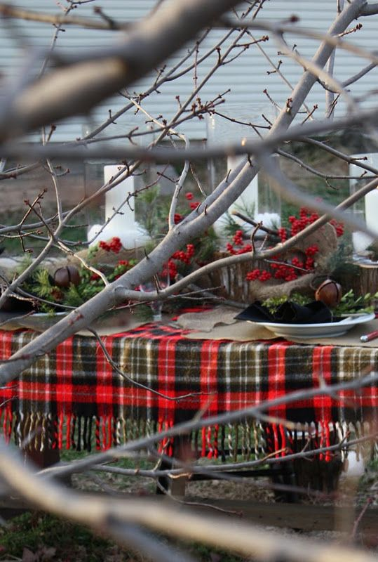 natural Christmas tablescape, Sweet Something Designs: Sweet, Christmas Tables Sets, Christmas Parties Tables, Tartan Plaid, Outdoor, Natural Christmas, Plaid Blanket, Christmas Ideas, Christmas Tablescapes