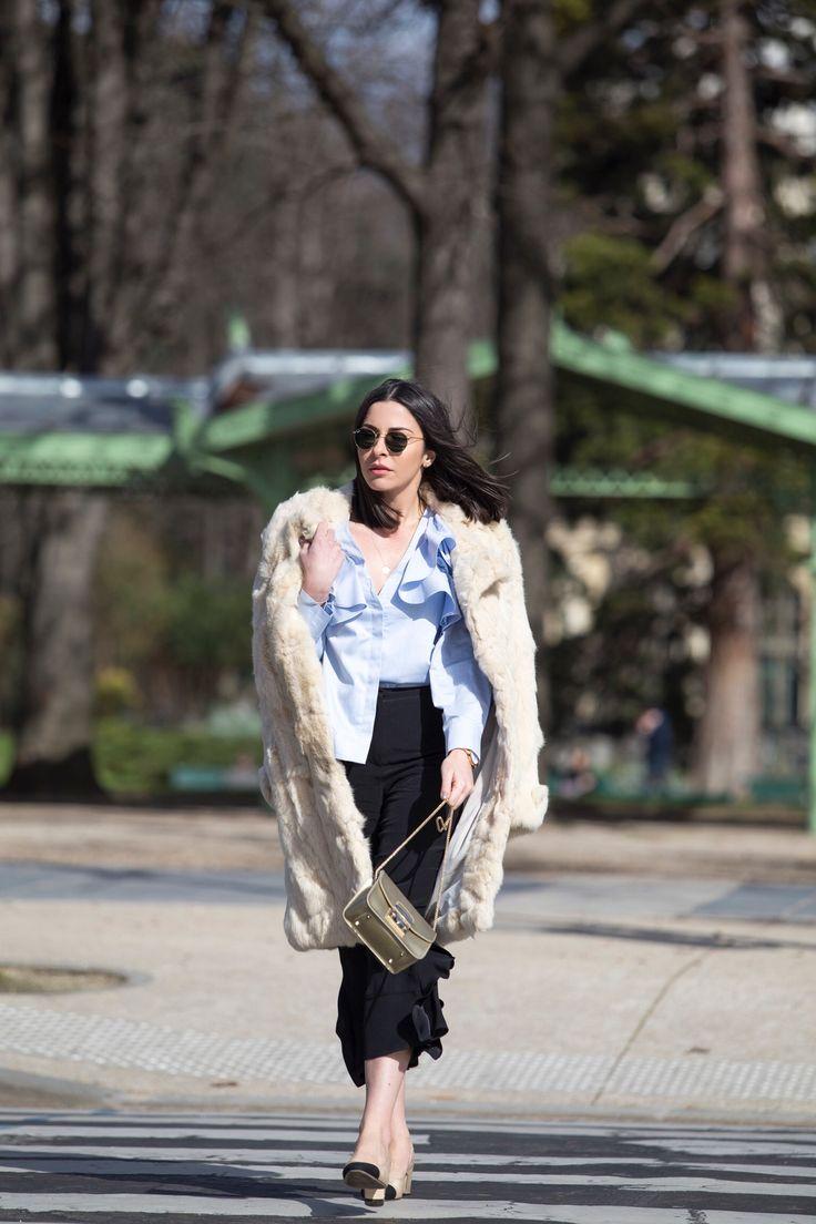 Stella Asteria Fashion & Lifestyle Blogger wearing riffled blouse & Chanel slingback at Paris Fashion Week