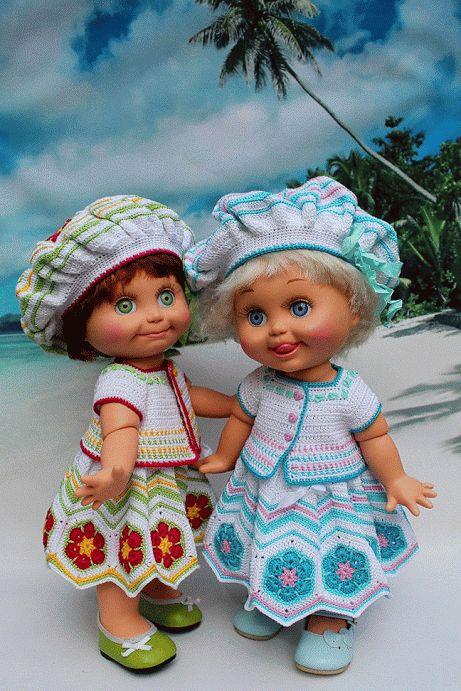 Seychelles Holidays for Galoob Baby Face Dolls Вязание крючком для кукол беби фейс - наряд с использованием мотива Африканский цветок