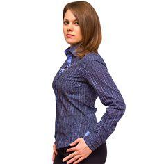 Женская рубашка Poggino приталенная цвет синий в ромбах