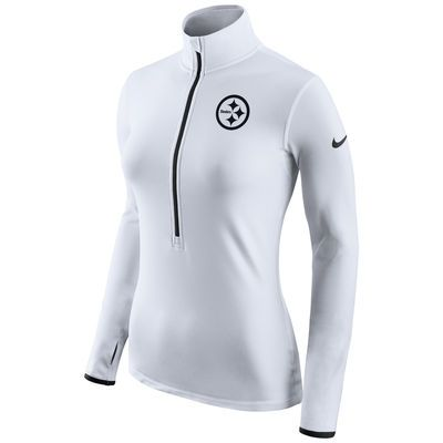 Women's Pittsburgh Steelers Nike White Champ Drive Pro Hyperwarm Half-Zip Jacket