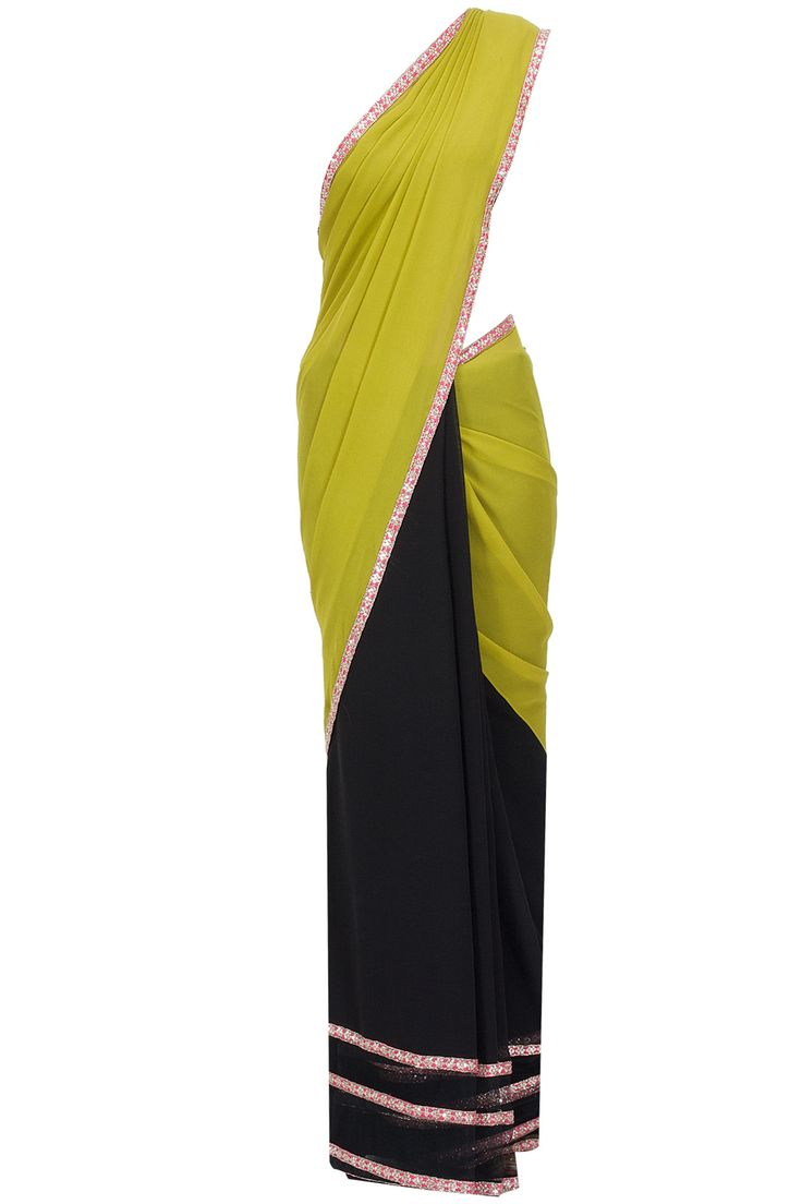 Olive green and black printed pallu sari with olive raw silk blouse piece available only at Pernia's Pop-Up Shop.