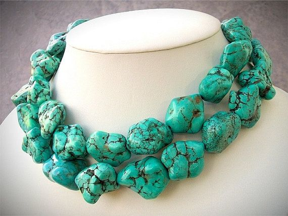 Chunky Turquoise Jewelry Green Nuggets Double Strands