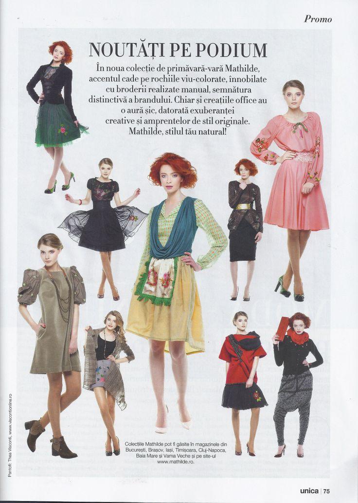 Mathilde in pagina de recomandari a revistei Unica, editia de Martie 2014