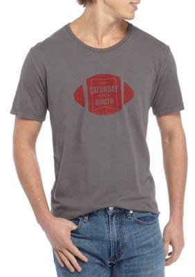 Saturday Down South Men's Short Sleeve Comfort Football Badge Tee - Pepper - 2Xl