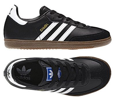 Classic Adidas Samba trainers in black and white for kids