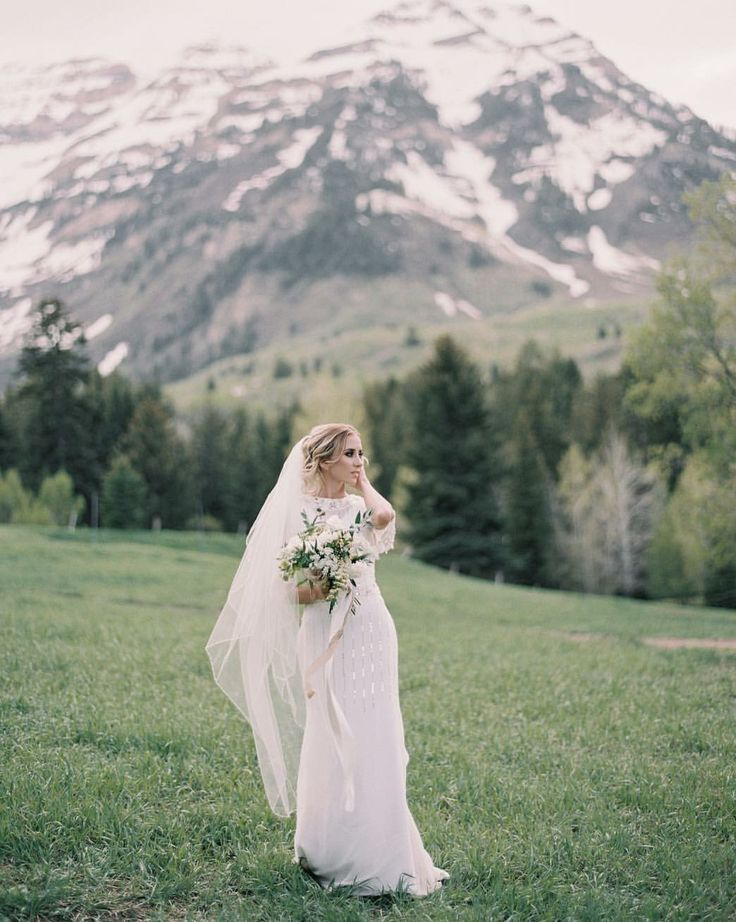 modest wedding dress with flutter sleeves from alta moda. -- (modest bridal gown) photo by tyler rye