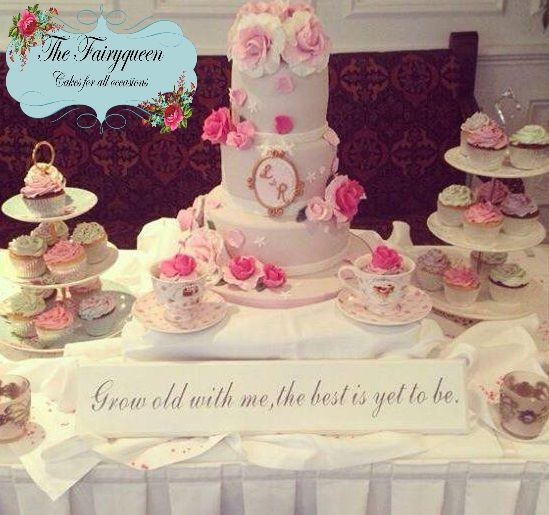 Vintage Wedding Cake with Rose Topped Teacup Cupcakes