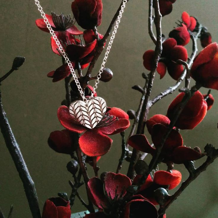 "Handmade ""Knitted Heart"" Necklace in Sterling Silver. Perfect for the knitter in your life."