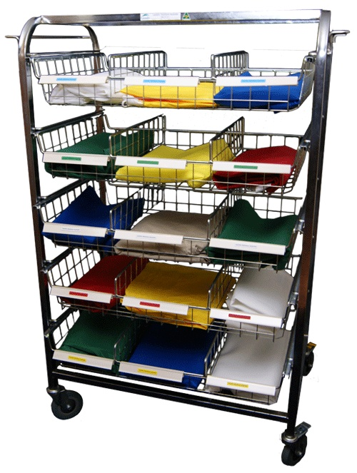 PERSONAL DISTRIBUTION TROLLEY  - Distribution of clean clothing  - Caters for up to 30 Residents   (Double-sided), with name tags   - Large polyurethane wheels   - Sliding Baskets for easy access   - Side Hanging Rails  - Cover available   - 1425(h) x 985(w) x 545(d)